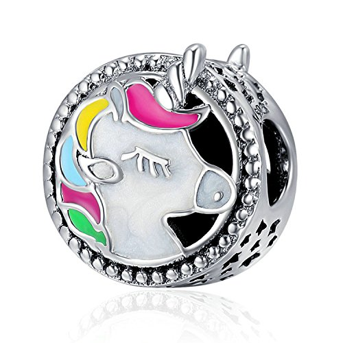 925 Sterling Silber Emaille Einhorn Charms Colorful durchbrochener Animal Faith Charms Passform Schlange Kette Armband