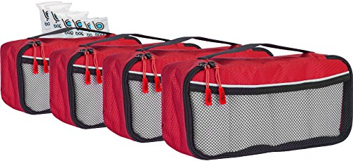 Packing Cubes 4pcs Value Set for Travel , Luggage Organizers – Slim (Red)