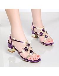 LGK   FA Sommer Damen Sandalen Sommer Sandalen mit grob Diamant Leder Schuhe  Mit Diamant hochhackige 33b6b2980e