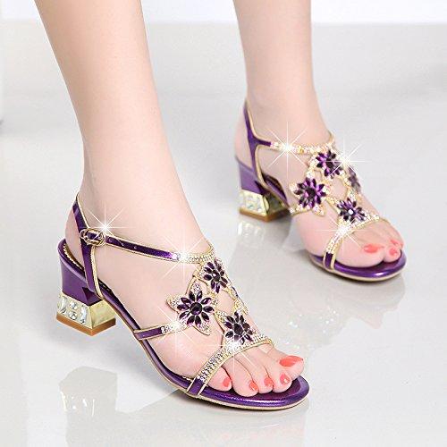 LGK & FA Sommer Damen Sandalen Sommer Sandalen mit grob Diamant Leder Schuhe Mit Diamant hochhackige Schuhe, violett Aldo Sandalen Mann