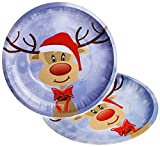 Unbekannt 1 Stück _ großer Teller / Plätzchenteller -  Rentier & Weihnachtsbaum - Frohe Weihnachten  - Ø 26,5 cm - Blech / Metall - Keksteller - Kinder & Erwachsene -..