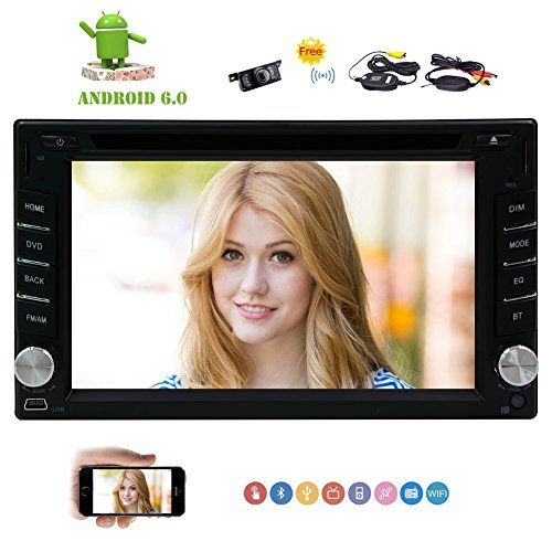 "Eincar Universal-2 din Car Stereo Android 6.0 Quad-Core 6.2"" Touch Screen Auto-DVD-CD-Spieler GPS-Navigations-FM / AM RDS-Radio Bluetooth Unterst¨¹tzung SWC 3G / 4G WIFI OBD2 Spiegel Link-Cam-In + Free Wireless Rear-Kamera"