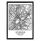 Nacnic Blade Athen Stadtplan nordischen Stil schwarz und