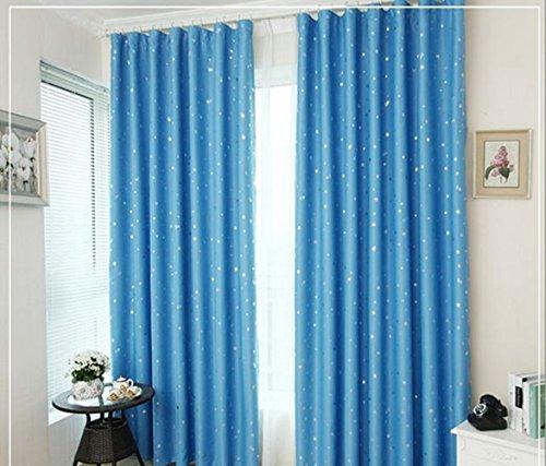 zantec Sky Blue Star Muster Shading Wärmedämmung Partition Vorhang 130* 150cm Küche Volant Blau