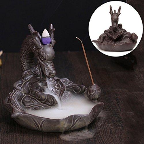KING DO WAY Rückfluss Räuchergefäß Räucherstäbchenhalter Dragon Keramik Luftbefeuchter Dragon Smoke Brenner ''Dragon Lotus Teich'' Aromatherapie Räucherstäbchen (16 x 16 x 15 cm) (Halter Tasche Danke)