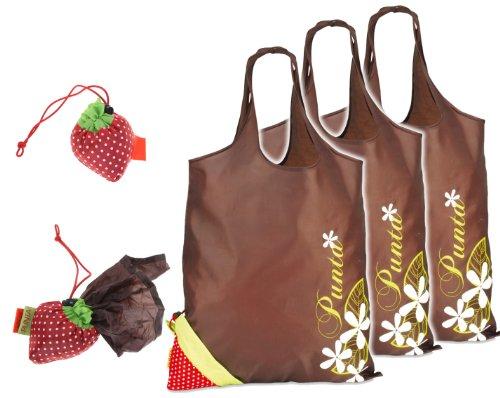 3-Stck-Faltshopper-PUNTA-Strawberry-ERDBEERE-Ultra-klein-frs-Auto-fr-den-Marktkorb