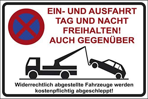 TEILE-24.EU Malinowski Parkplatz Schilder Parkverbot Hinweis Schild Parkverbotsschild Parken verboten EIN und Ausfahrt Tag und Nacht freihalten auch Gegenüber NEU (300x400 Nr.10)