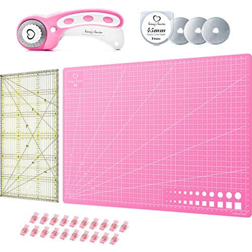Honey\'s Heaven 45 mm Rollschneider Stoffschneider Set inkl. Schneideunterlage, Ersatzklingen, Stoffklammern, Patchwork-Lineal (Rosa/Pink, Schneidematte im A3-Format)