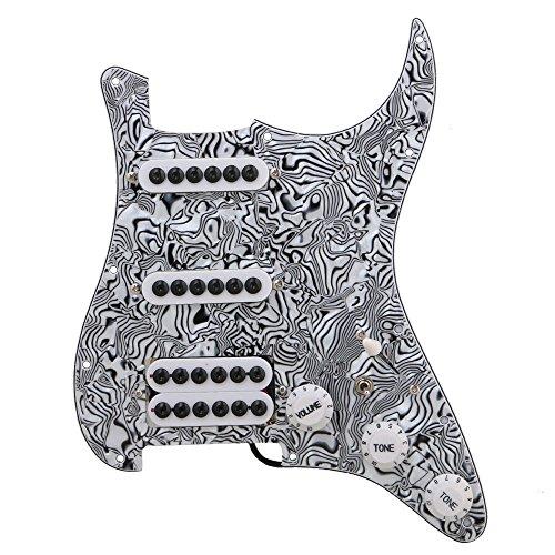 yibuy schwarz weiß zebra Muster 3-lagig Tonabnehmer E-Gitarre geladen vorverdrahtet Plektrumschutz-Set SSH 2 Zebra-haut