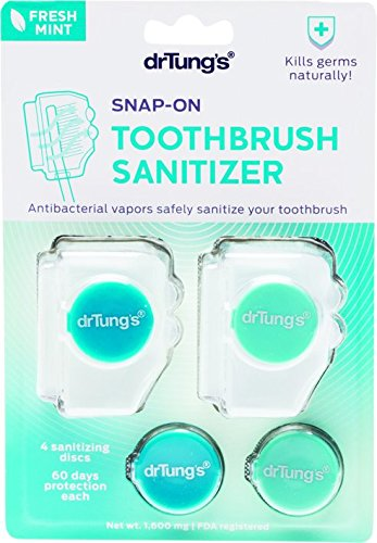 Dr. Tung\'s, Snap-On Toothbrush Sanitizer, 2 Toothbrush Sanitizers (Assorted Colors) by Dr Tungs