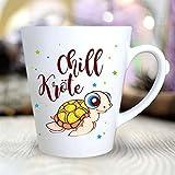 """Wandtattoo Loft® Bedruckte Konische Keramiktasse """"Chillkröte"""" mit niedlicher Schildkröte / beidseitig bedruckt / Tasse / Becher / Spülmaschinenfest / Kaffeetasse mit Motiv"""