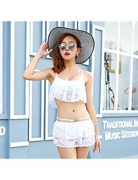 Dividir la falda es de estilo moderno y cómodo bikini _ traje de baño estilo falda dividida de encaje blanco,...