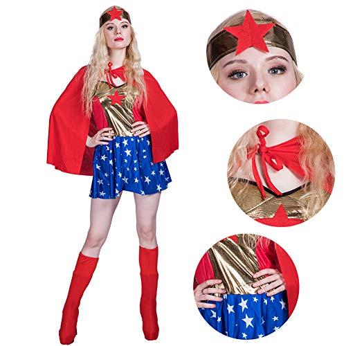 RISILAYS Halloween Womenswear, Held Kostüme Sexy Kleider, Schal Sets Haarschmuck Mode Bekleidung Kleider Rollenspiel Göttin Gerechtigkeit Inkarnation Erwachsene,Red