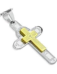 Emeco Padre Nuestro Cruz Colgante señores inoxidable Prayer colgante + cadena (PLY379)