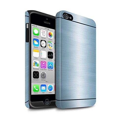 Stuff4® Matte Harten Stoßfest Hülle/Case für Apple iPhone 4/4S / Blau Muster/Gebürstetem Metall Mutser Kollektion (Metall 4s Iphone Gebürstetem Case)