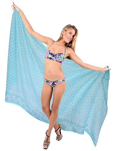 La Leela schiere leichten Chiffon frischen Blumen Sarong Vertuschung Frauenbadebekleidung Google Blau