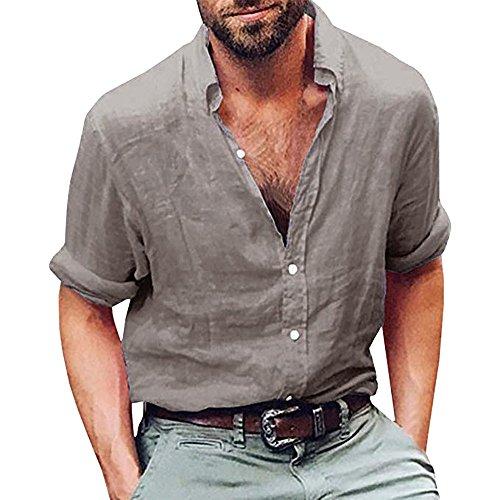 UJUNAOR Oktoberfest Mode Männer Leinen Tops Langarm T-Shirt -