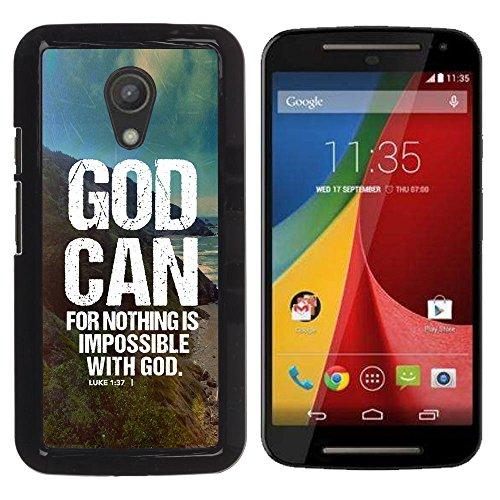 e Bild Hart Handy SchutzHülle Hülle Schale Case Cover Etui für MOTOROLA MOTO G ( 2ND GEN ) - GOD CAN - LUKE 1:37 ()