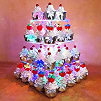 HEXNUB 4 Tier Acrylic Cupcake Stand Light up Cake and Dessert Square Display Serving Tower with LED Lights for Wedding Party Birthday Baby Shower Afternoon Tea