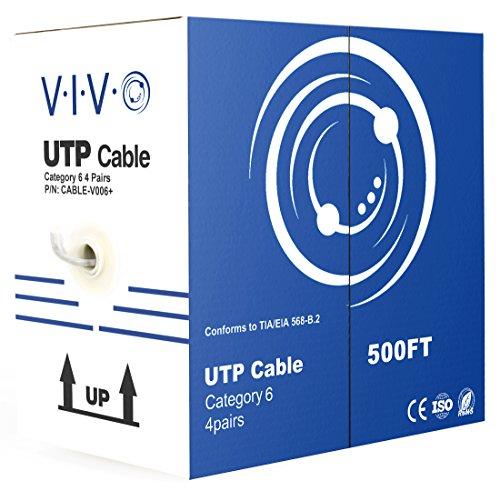 Vivo 500 ft Bulk CAT6 (cca) Ethernet-Kabel/Draht UTP- Zugkasten 500ft CAT6 (cca) grau (Kabel-V006) (500 Cat6-spule)