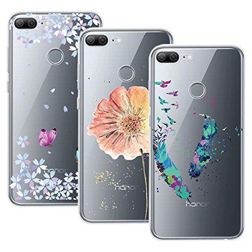 Yokata Kompatibel mit Huawei Honor 9 Lite Hülle Silikon Transparent Durchsichtig Handyhülle Schutzhülle TPU Dünn Slim Kratzfest mit Motiv [3 Pack] - Feder Blumen & Schmetterlinge Blumen