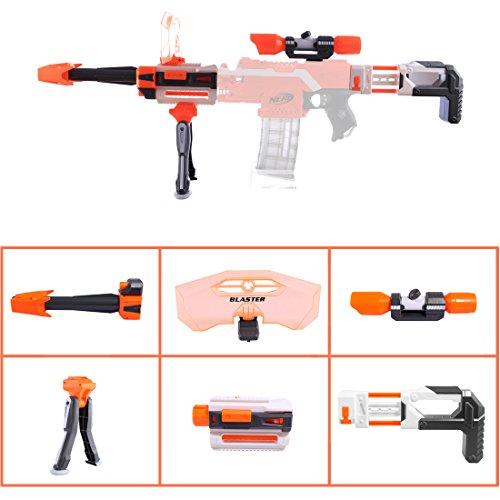 LoKauf Modified Kit: Schulterstütze + Zielfernrohr + Bipod + Vorderrohr + Schild für Nerf Stryfe/Nerf Modulus