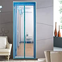 Magnetic Fly Screen Door Hands-Free Bug-Proof Curtain Micro Mesh Curtain Shut Automatically,Keep Fresh AIR in & Bugs OUT (80x200cm, Blue)