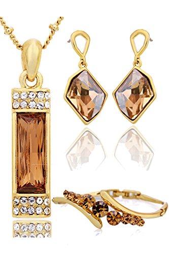 Neoglory Jewellery 14 K Gold Schmuckset mit Swarovski Elements Kristall Gelb in luxus Stil (Zigarette Mädchen Halloween Kostüme)