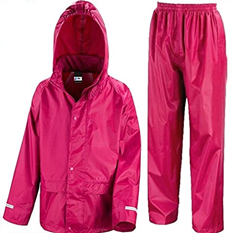 Kids Waterproof Jacket & Trousers Suit In Black, Pink, Red or Royal Blue Childs Childrens Boys Girls (7-8 Years,