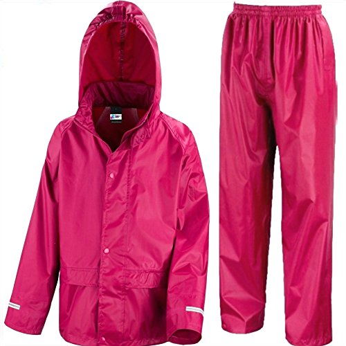Kids Waterproof Jacket & Trousers Suit In Black, Pink, Red or Royal Blue Childs Childrens Boys Girls (3-4 Years, Pink)