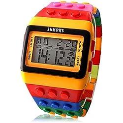 'Tinthe Box @ Rainbow-Unisex Block Brick Style Wrist Watch with LED Night Light