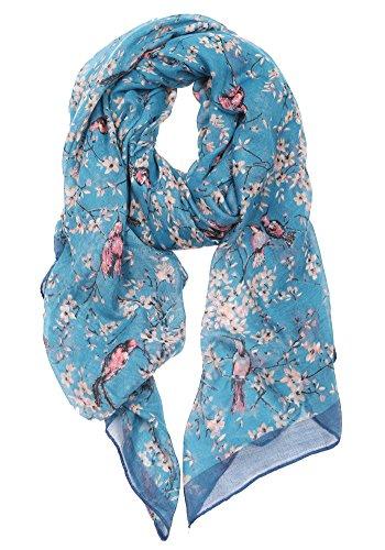 DiaryLook Frauen moderne Schal, Poncho, Stola mit Schmetterling Print-Design und Blumen-Vogel-Stil ...