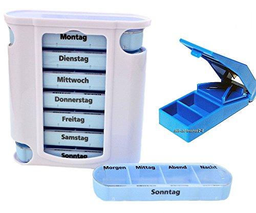 1 SET aus: Medikamentenbox Pillenbox Pillendose Tablettenbox Medikamentenspender mit Pillenzerteiler, Tablettenzerteiler von all-around24