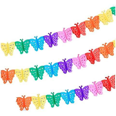 Super44day 10 pezzi colorati Farfalla Ghirlanda Carta velina Ghirlanda set, Ghirlanda Craft, per la decorazione di nozze, decorazione del partito, festa di compleanno, Nursery Decorazione pompon