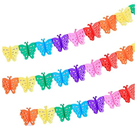 Super44day 10Pcs of Colorful Hanging Clover Garland Bunting Banner,Tissue Paper Flowers,Tissue Paper Garland,Tissue Paper, Tissue Paper Flowers Kit, Garland Craft,for Wedding Decor, Party Decor, Birthday Party, Nursery Decoration Pom Poms (Butterfly)