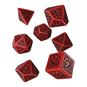 Q WORKSHOP Dwarven Red & Black RPG Ornamented Dice Set 7 Polyhedral Pieces