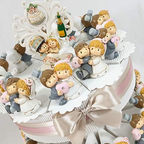 Bomboniere matrimonio sposi simpatici, sposi originali completi confetti crispo e topper