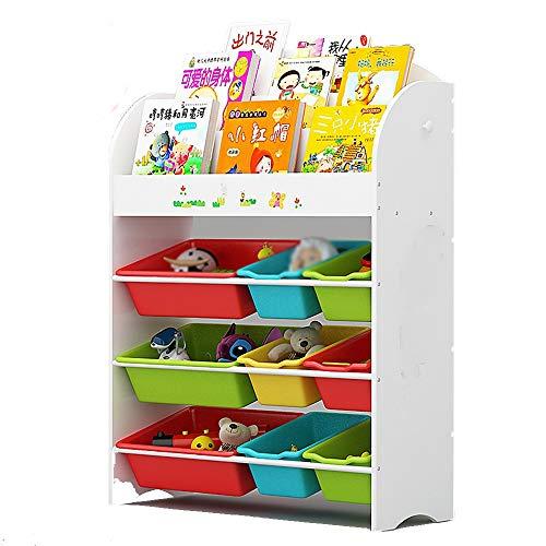 Rack XIA Toy Book Organizer Kinder 3-Tier Bücherregal 6 Abnehmbare Behälter Holz-Aufbewahrungsbox Spielzimmer (Farbe : Weiß, größe : 3 Tier)