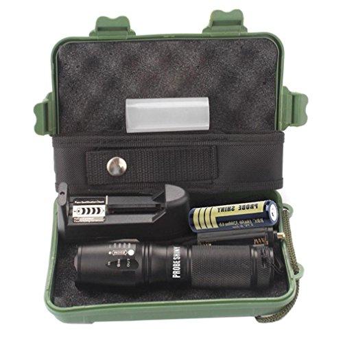 SUCES X800 Zoomable XML T6 LED Taktische Taschenlampe + 18650 Batterie + Ladegerät + Fall, hohes Lumen, skalierbar, wasserabweisend, Handleuchten - ideal für Camping, Wandern und Spaziergang mit Hunde (Black)