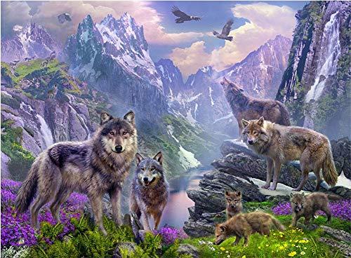 Malen nach Zahlen Kit Diy Ölgemälde Kit für Kinder und Erwachsene - Wölfe 16