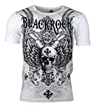 T-Shirt - Skull - Wings - Totenkopf - mit Strass Steinen - Print (S, weiß)