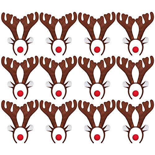 ILOVEFANCYDRESS 12 Rudolf RED Nose Santa Rentier HÖRNER GEWEIHE MIT 12 ROTEN Schaumstoff NASEN = Betriebsfeier Weihnachten Xmas Schlitten KOSTÜM VERKLEIDUNG Fasching Gruppen (Rot Cupid Kostüm)
