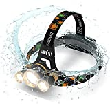 Best LED Stirnlampe 5000 Lumen Taschenlampe - Verbesserte LED, wiederaufladbar 18650 Scheinwerfer Taschenlampen, wasserdichtes Hardcase Hat Licht, helle Head Lichter, Laufen oder Camping Scheinwerfer
