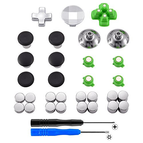 eXtremeRate PS4 Dualshock 4 Thumbsticks Buttons Sticks D-Pad Kappen Trigger Analogsticks Tasten Set aus Aluminium für Sony Playstation 4 (31 Teiliges Set)