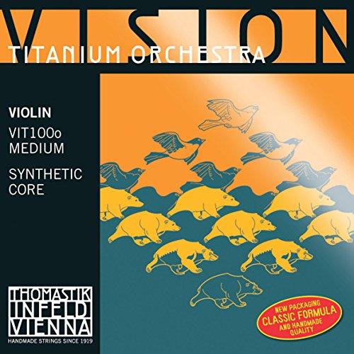 Thomastik 634249 Saiten für Violine Vision Titanium Orchestra Synthetic Core, Satz 4/4 Mittel mit E Stahl blank (Thomastik Saiten Vision Violine)