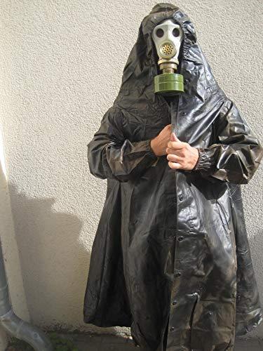 NVA Halloween Latex Gummi Mantel Gasmaske Filter Fetisch Fasching