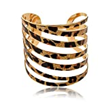 Sexy Print Leopard Hollowed Glitter Eclat Ouverte Manchette Reglable Bangle Bracelet N110K04