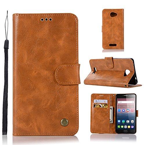 kelman Hülle für Alcatel One Touch Pop 4s Hülle Schutzhülle PU Leder + Soft Silikon TPU Innere Schale Brieftasche Flip Handyhülle - [JX04/Golden]