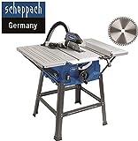 Scheppach HS 100 S Sonderedition Tischkreissäge - Kreissäge mit Feinschnitt Sägeblatt (2000 W, Sägeblatt Ø 250 x Ø 30 mm, max. Schnitthöhe 85 mm, Tischgröße 940x642 mm)
