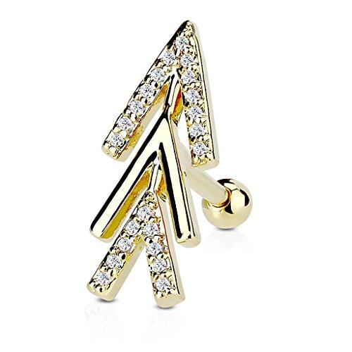 Autiga Tragus Ohr Piercing Stecker Helix Cartilage Barbell Pfeil Arrow Chirurgenstahl Gold -